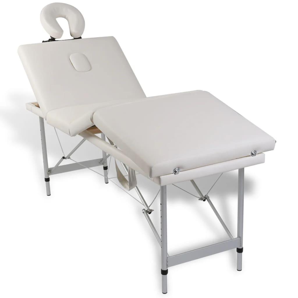 Lettino Estetica Pieghevole.Vidaxl Lettino Pieghevole Da Massaggio Bianco Crema 4 Zone Con Telaio Alluminio