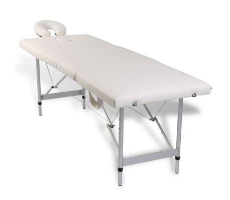 Table de Massage Pliante 4 Zones Crème Cadre en Aluminium[2/9]