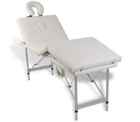 Table de Massage Pliante 4 Zones Crème Cadre en Aluminium[9/9]