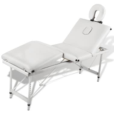 Table de Massage Pliante 4 Zones Crème Cadre en Aluminium[6/9]