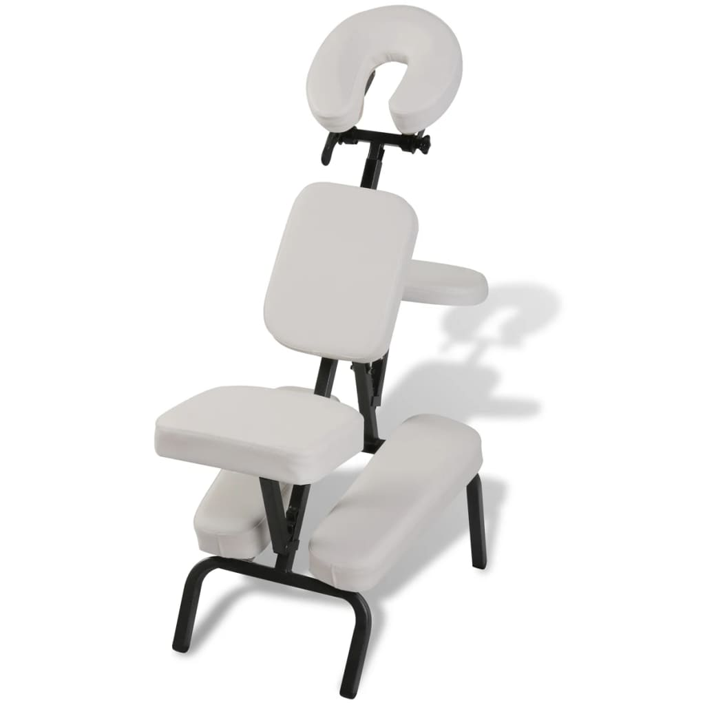 vidaXL White Foldable & Portable Massage Chair