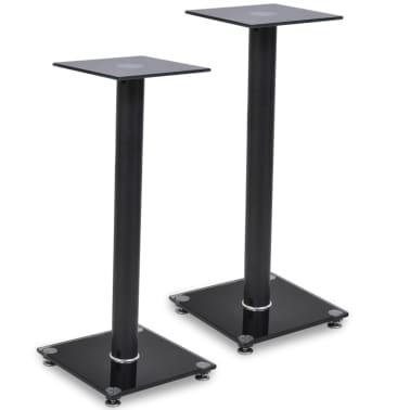 2 pcs Glass Speaker Stand (Each with 1 Black Pillar)[1/7]