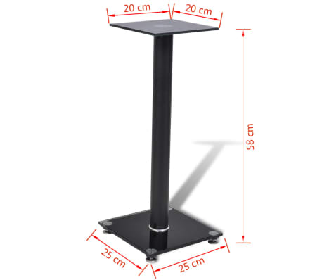 2 pcs Glass Speaker Stand (Each with 1 Black Pillar)[7/7]