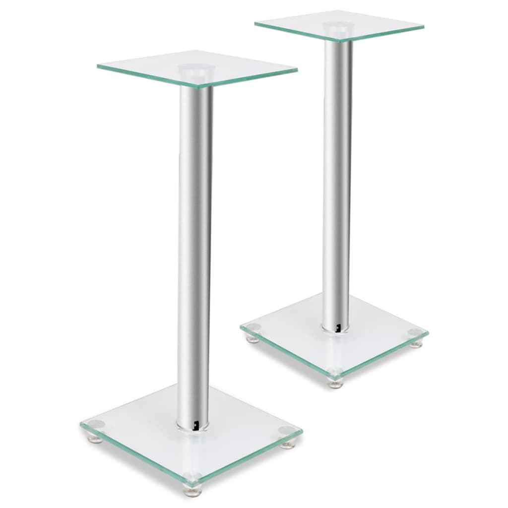 vidaXL 2 pcs Glass Speaker Stand (Each with 1 Silver Pillar)