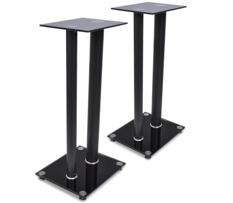 2 pcs Glass Speaker Stand (Each with 2 Black Pillars)[1/7]