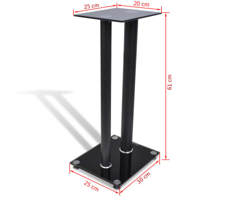 2 pcs Glass Speaker Stand (Each with 2 Black Pillars)[7/7]