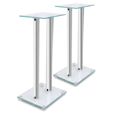2 pcs Glass Speaker Stand (Each with 2 Silver Pillars)[1/7]