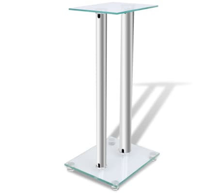 2 pcs Glass Speaker Stand (Each with 2 Silver Pillars)[3/7]