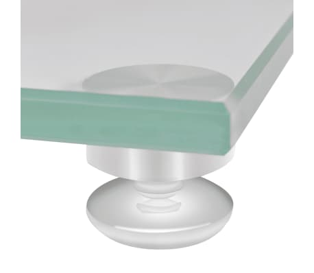 2 pcs Glass Speaker Stand (Each with 2 Silver Pillars)[5/7]