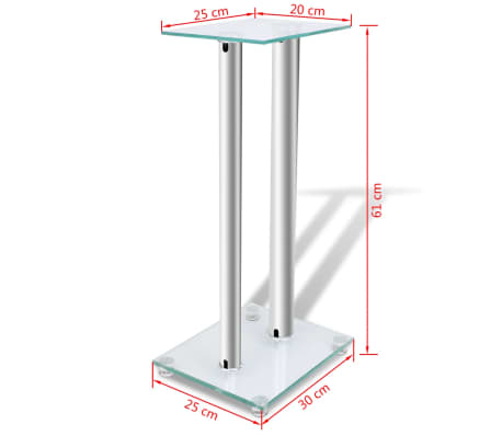 2 pcs Glass Speaker Stand (Each with 2 Silver Pillars)[7/7]