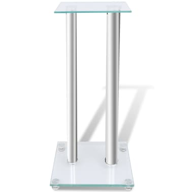 2 pcs Glass Speaker Stand (Each with 2 Silver Pillars)[2/7]