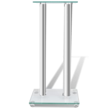 2 pcs Glass Speaker Stand (Each with 2 Silver Pillars)[4/7]