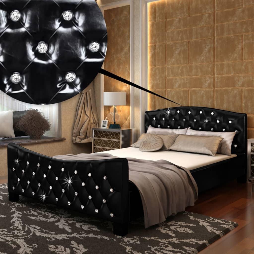vidaXL Postel s matrací 140x200 cm umělá kůže s vysokým leskem černá