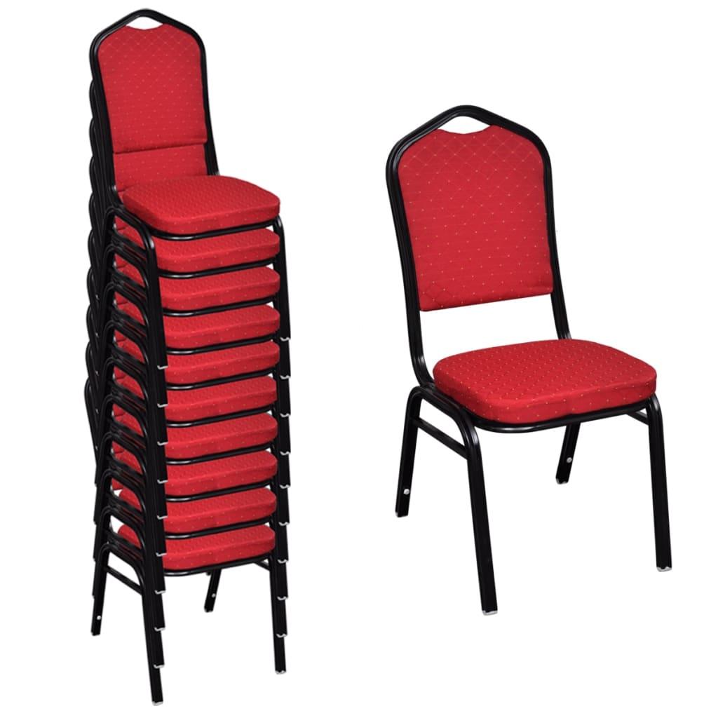 vidaXL Jídelní židle 10 ks stohovatelné, textilní čalounění, červené