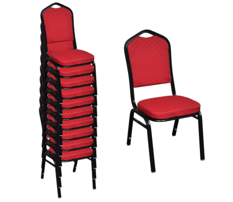 vidaXL spisebordsstole 10 stk. stof rød