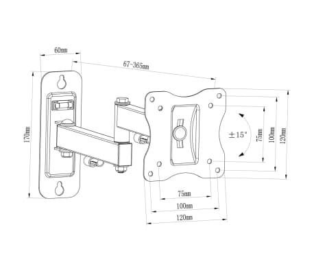"""Single-arm Swivel & Tilt Wall Mount TV Bracket 4x4"""" for 10 - 23"""" TV's[7/9]"""