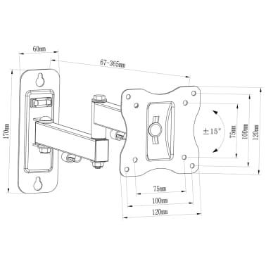 """Single-arm Swivel & Tilt Wall Mount TV Bracket 4x4"""" for 10 - 23"""" TV"""
