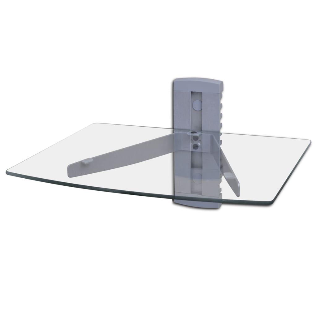 1- patrová nástěnná skleněná DVD police, stříbrná