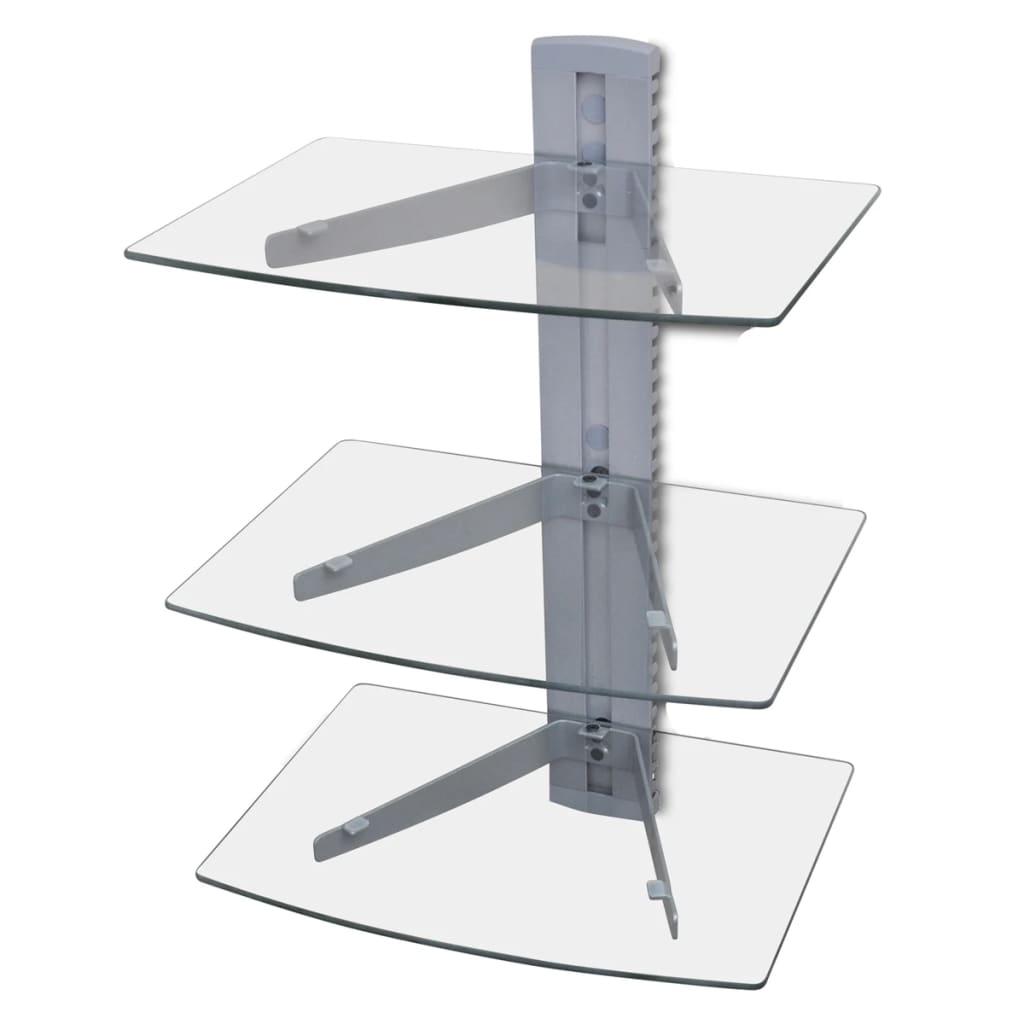 3- patrová nástěnná skleněná DVD police, stříbrná