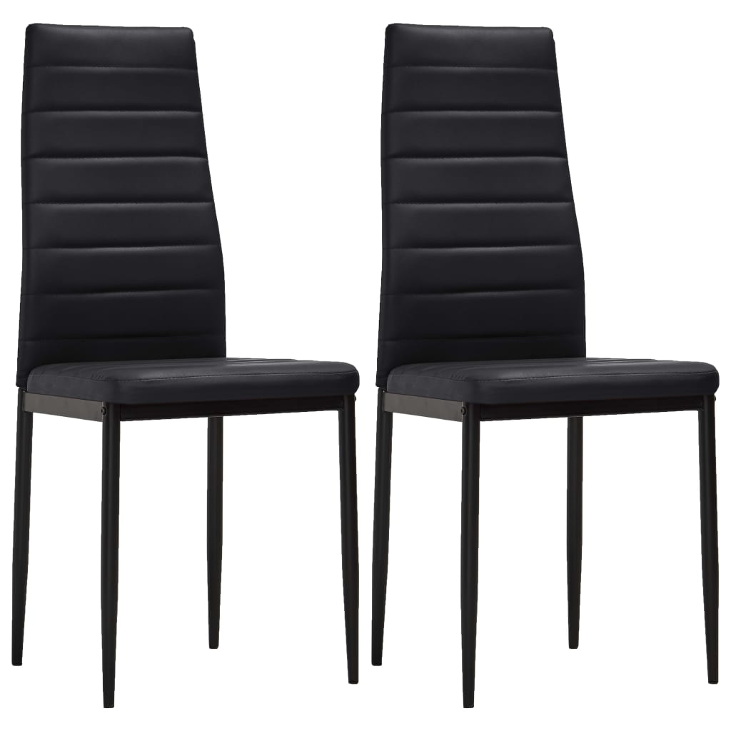 vidaXL Καρέκλες Τραπεζαρίας με Λεπτή Γραμμή 2 τεμ. Μαύρες