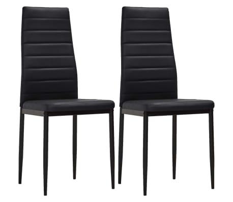 vidaXL spisebordsstole 2 stk. kunstlæder sort[2/8]