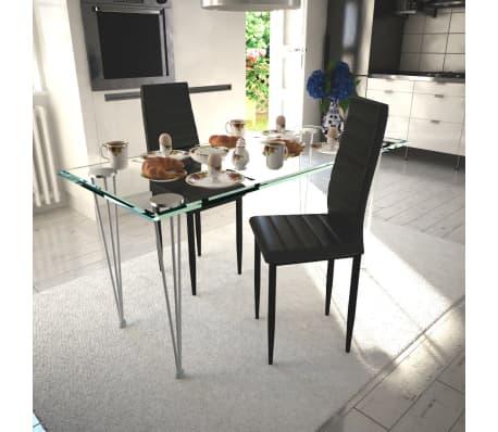 vidaXL spisebordsstole 2 stk. kunstlæder sort[1/8]