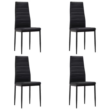 vidaXL Chaise de salle à manger 4 pcs Design fin Noir[2/8]