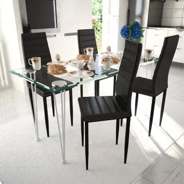 vidaXL Chaise de salle à manger 4 pcs Design fin Noir[1/8]