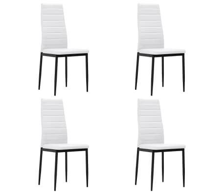 vidaXL Krzesła stołowe, 4 szt., białe, sztuczna skóra