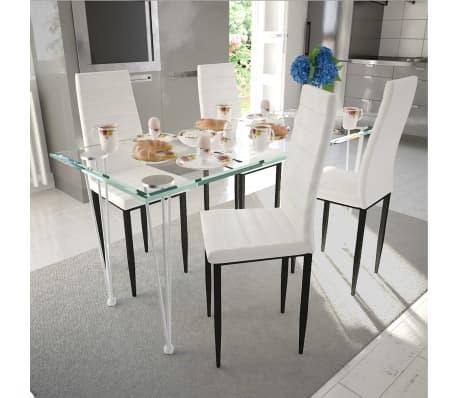 Acheter Vidaxl Chaise De Salle A Manger 4 Pcs Design Fin Blanc Pas