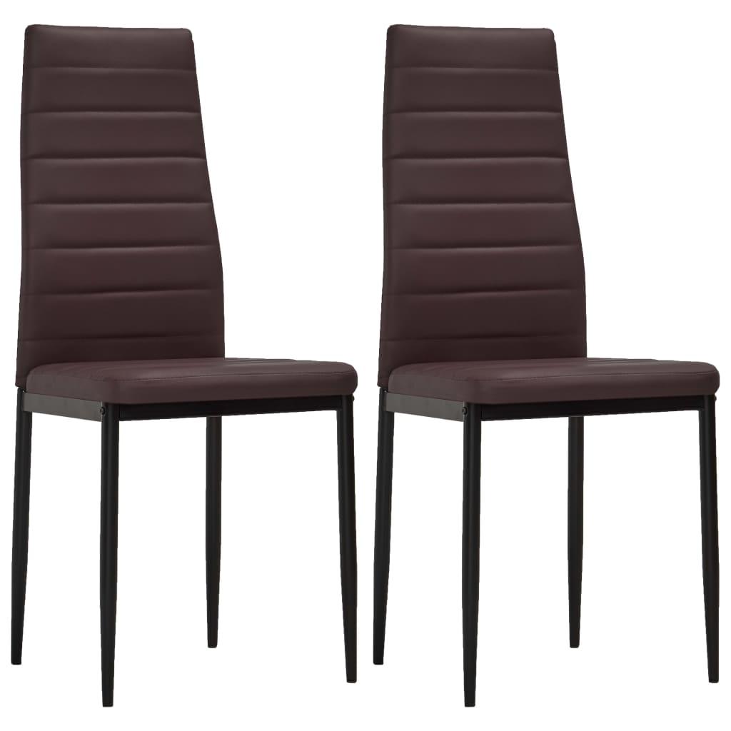 vidaXL Καρέκλες Τραπεζαρίας με Λεπτή Γραμμή 2 τεμ. Καφέ