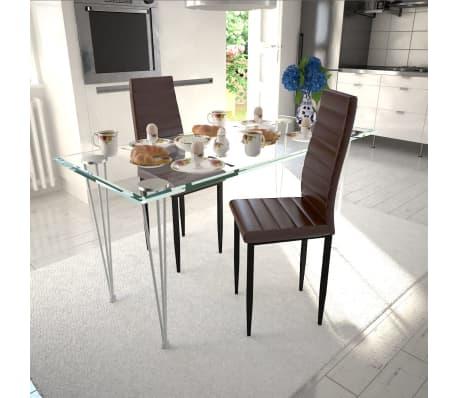 Vidaxl sillas de comedor 2 unidades marrones modelo fino for Sillas marrones