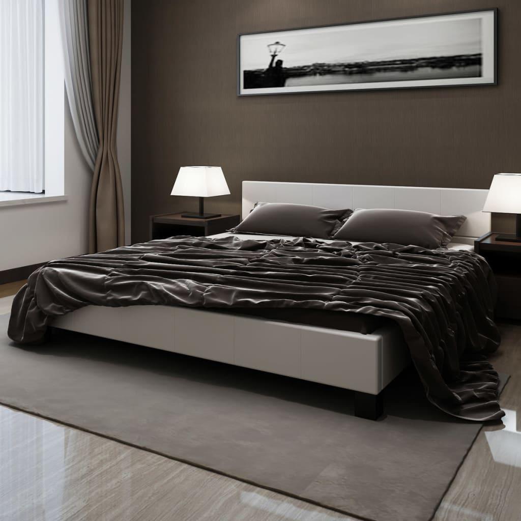 Bílá postel platforma z umělé kůže 200 x 180 cm s matrací