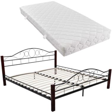metallbett doppelbett schwarz rostbraun 140x200 cm matratze g nstig kaufen. Black Bedroom Furniture Sets. Home Design Ideas