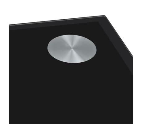 vidaXL Valgomojo stalas su stikliniu stalviršiu, juodas[3/4]