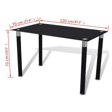 vidaXL Valgomojo stalas su stikliniu stalviršiu, juodas[4/4]
