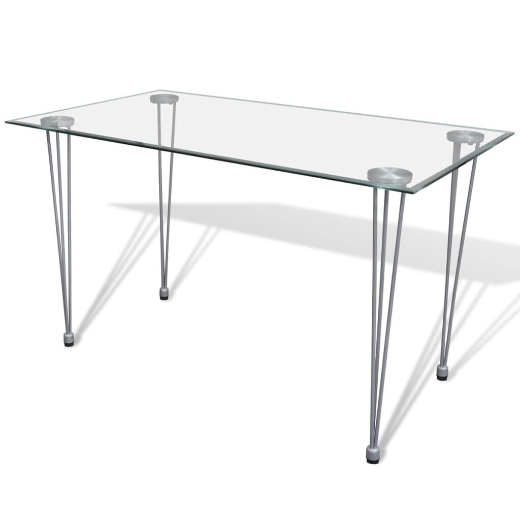 Jídelní stůl s průhlednou skleněnou deskou
