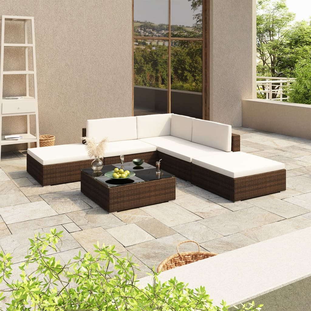 vidaXL Outdoor Lounge Set 15 Pieces Brown Poly Rattan