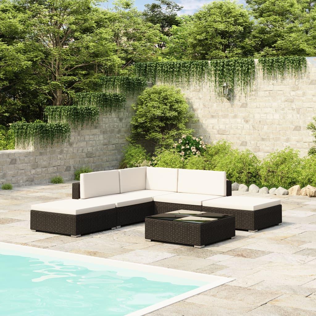 vidaXL Outdoor Lounge Set 15 Pieces Black Poly Rattan