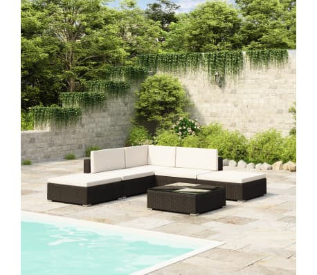 vidaXL Loungegrupp för trädgården med dynor 6 delar konstrotting svart[1/7]