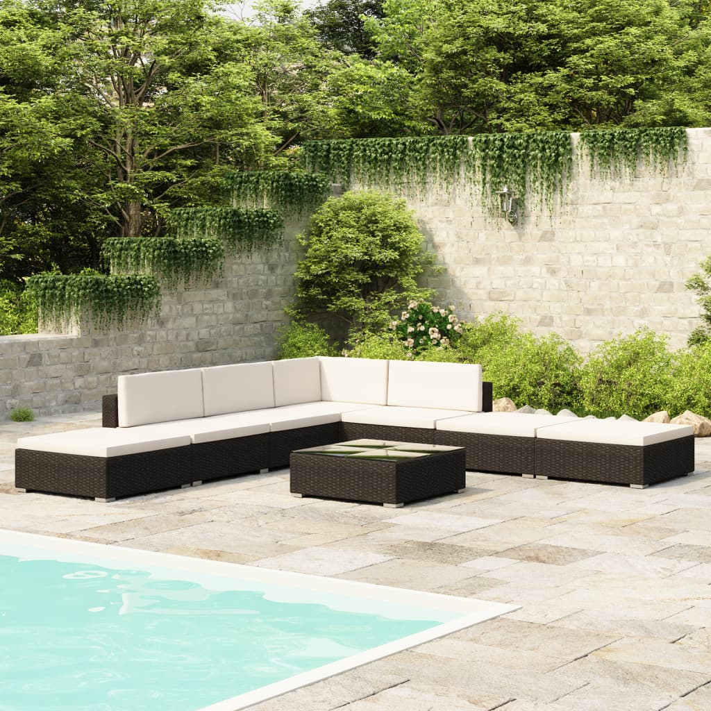vidaXL Outdoor Lounge Set 20 Pieces Black Poly Rattan