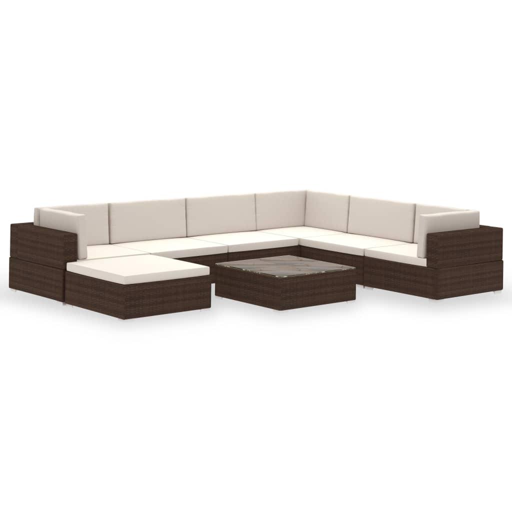 9941260 Gartenlounge-Set 24-tlg. Braun Poly Rattan