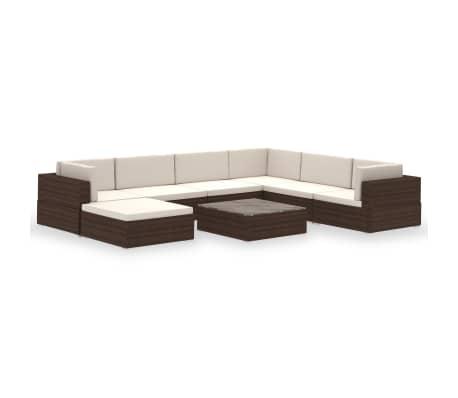 vidaXL 8-dielna záhradná sedacia súprava+podložky, hnedá, polyratan