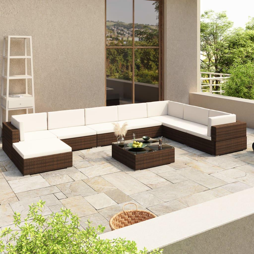 vidaXL Outdoor Lounge Set 24 Pieces Brown Poly Rattan