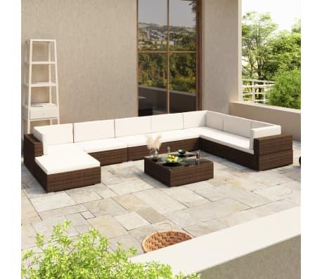 vidaXL Jeu de meuble de jardin 24 pcs Marron Résine tressée[1/8]