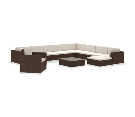 vidaXL 12 Piece Garden Lounge Set with Cushions Poly Rattan Brown