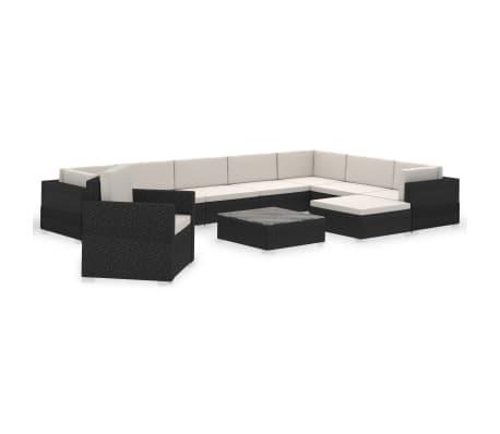 vidaXL 12 pcs conjunto lounge de jardim c/ almofadões vime PE preto
