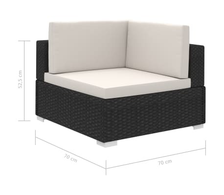 vidaXL 12-daļīgs dārza atpūtas mēbeļu komplekts ar matračiem, melns PE[7/7]