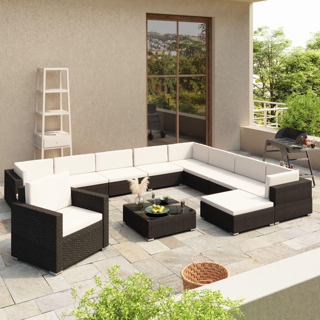 vidaXL 12-cz. zestaw wypoczynkowy do ogrodu, poduszki, rattan PE czerń