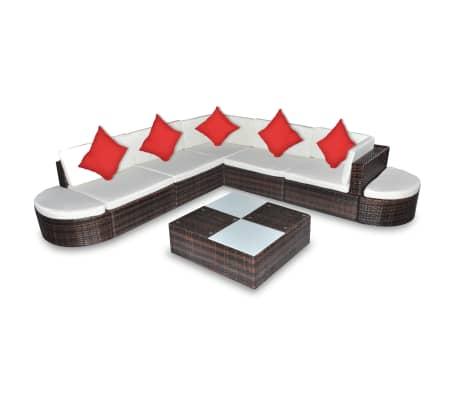 vidaXL Loungegrupp för trädgården med dynor 8 delar konstrotting brun